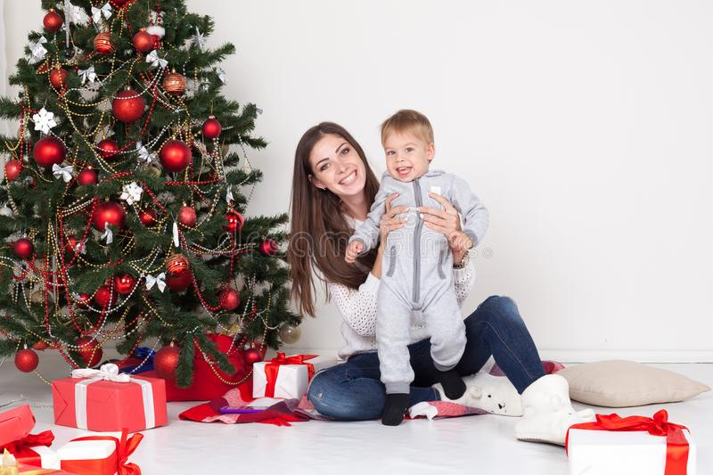 Christmas Gifts For Mom From Young Son Mother And Son Open Gifts On ...
