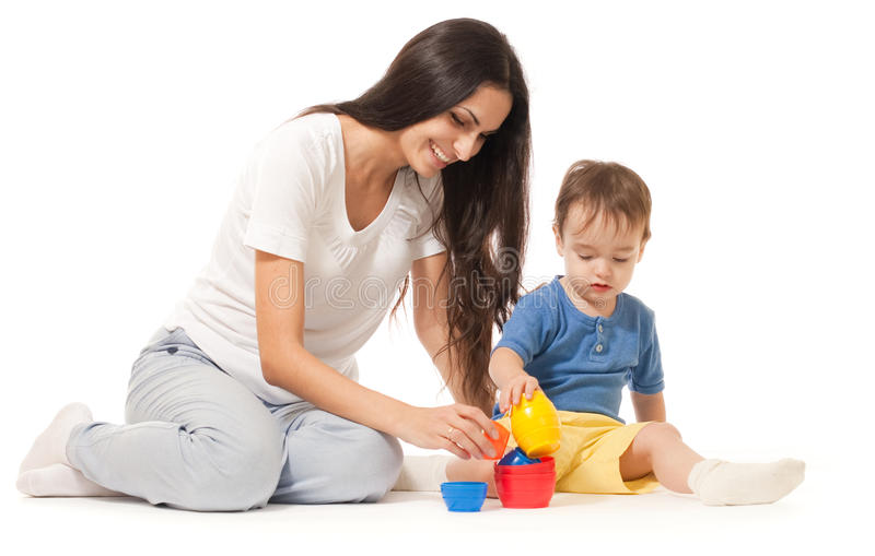 Mother and son playing game together isolated