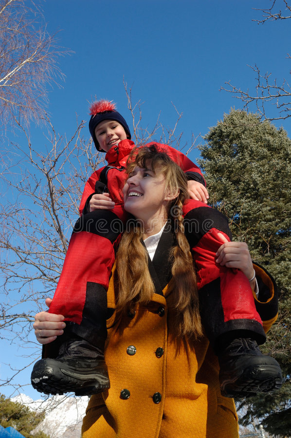 Download Mother And Son Playing Happy Stock Image - Image of mountains, family: 4367943