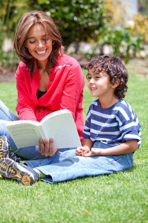 Download Mother and son reading stock image. Image of outdoors - 8733421