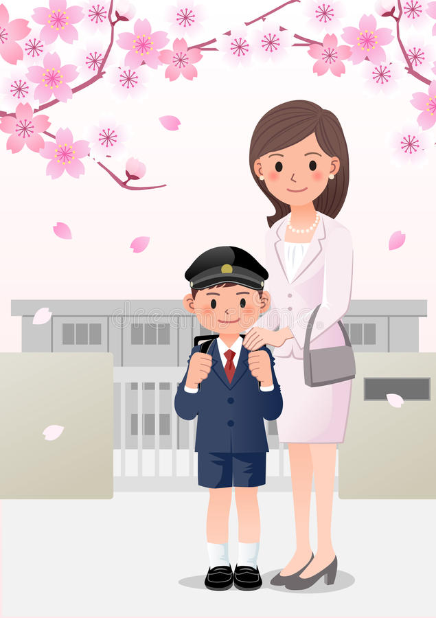 Mother and son on school background under cherry blossom trees stock illustration