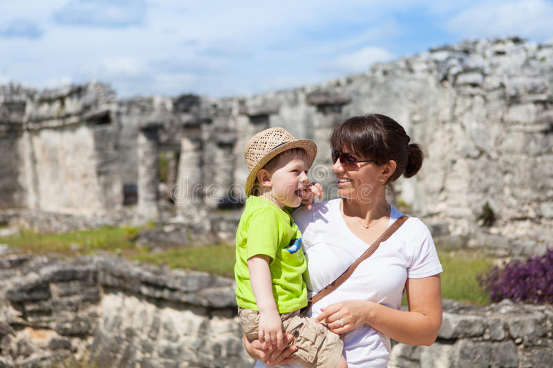 Mother and son sightseeing in Tulum, Mexico stock photography