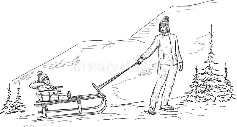 Mother and son sledging vector illustration