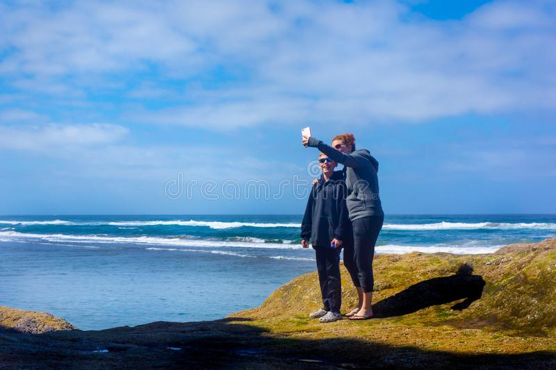 Mother Son Take Selfie Photo at Vacation Beach royalty free stock photos