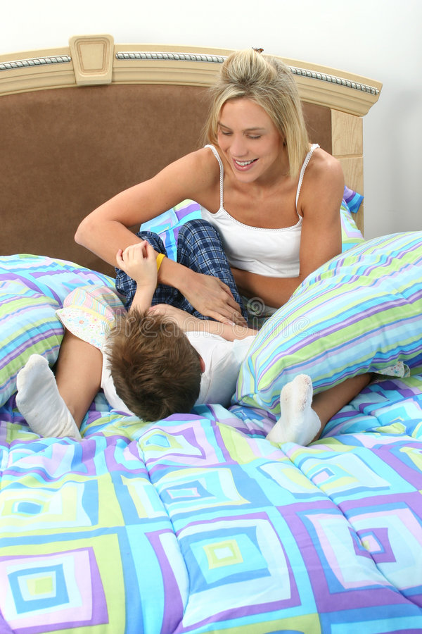 Mother Son Tickle Fight Stock Images