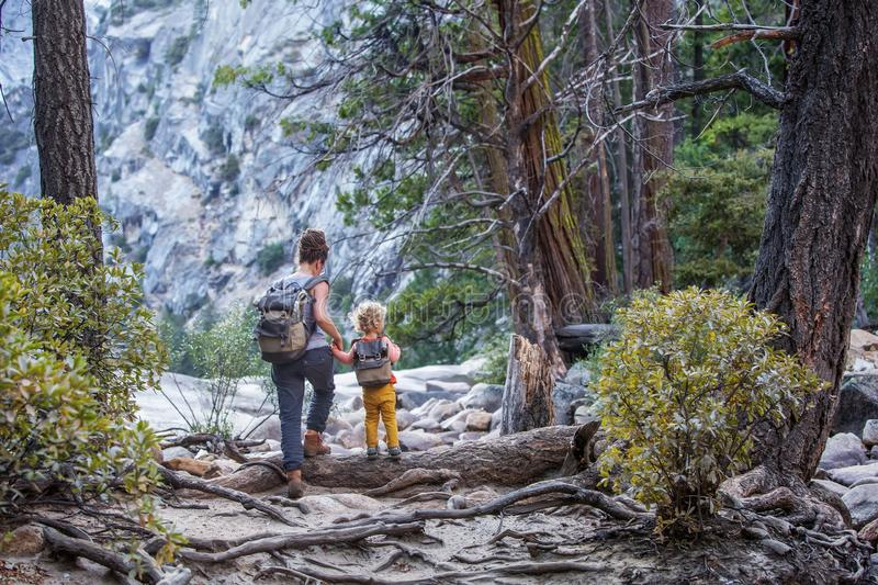 Mother with son visit Yosemite national park in California.  stock image