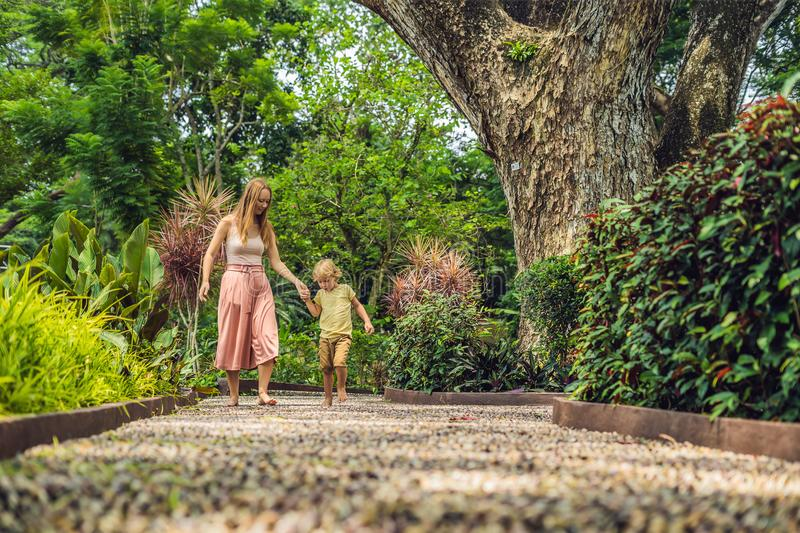 Mother and son Walking On A Textured Cobble Pavement, Reflexology. Pebble stones on the pavement for foot reflexology.  stock images