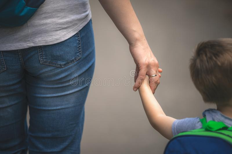 Mother and son Walking together royalty free stock photo