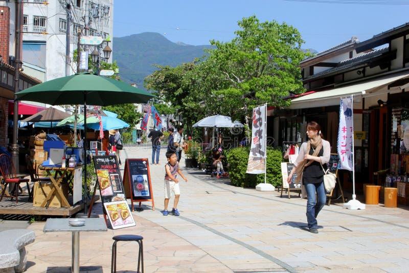June 2018, Japanese mother child walking outdoor street mountain view, Matsumoto, Japan royalty free stock photography