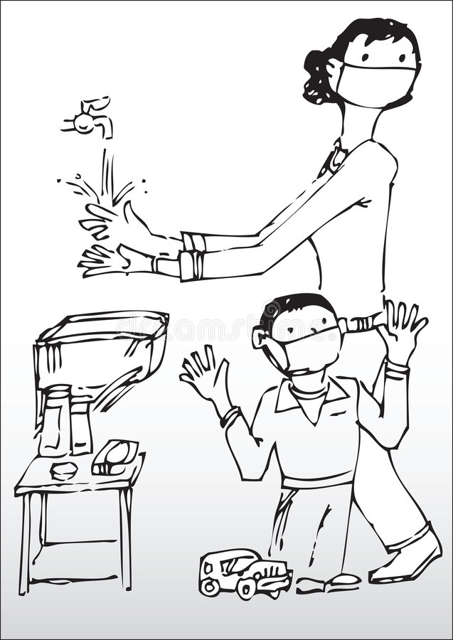 Download Mother And Son Washing Hands Stock Vector - Image: 9303963