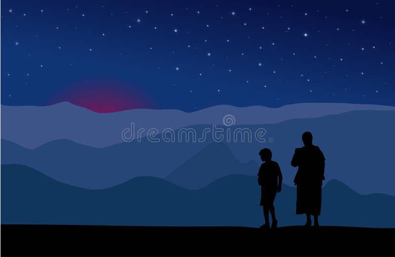 Download Mother And Son Watching Stars Stock Vector - Image: 3220075