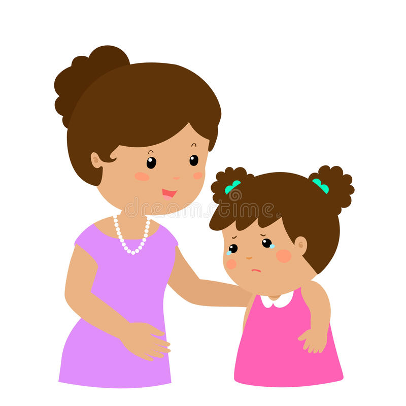 Mother soothes crying daughter. Illustration stock illustration