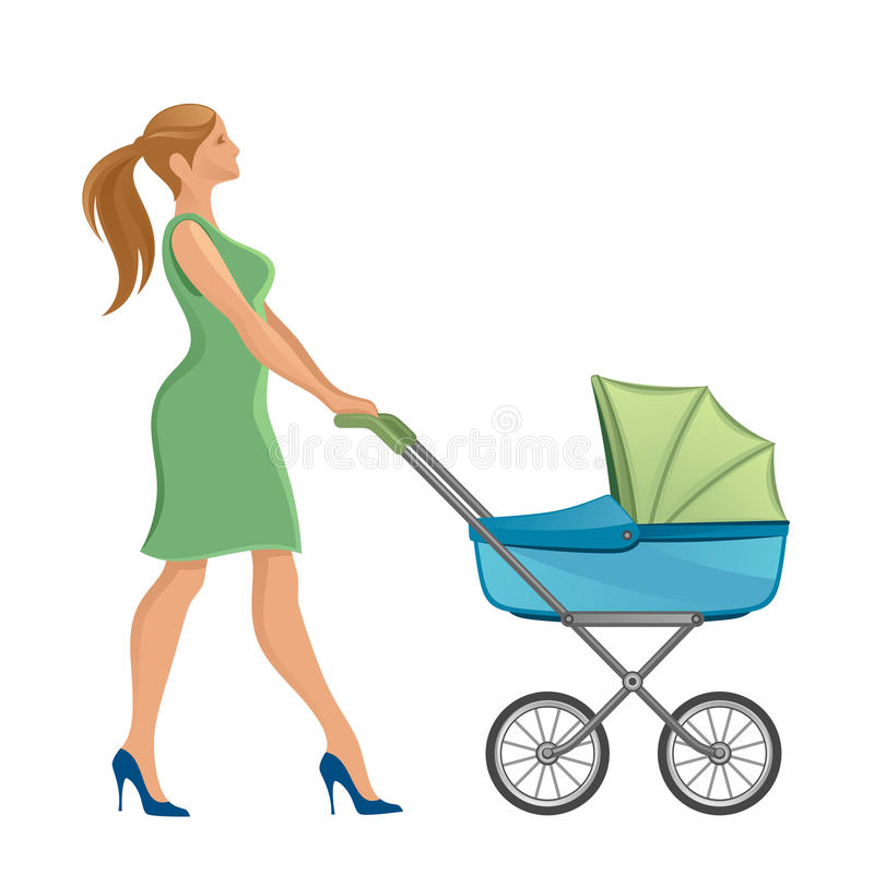 Mother with stroller. Walking on a white background royalty free illustration