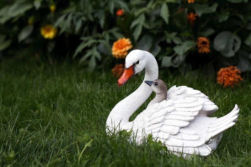 Download Mother swan with cygnets stock image. Image of look, ceramic - 25350715