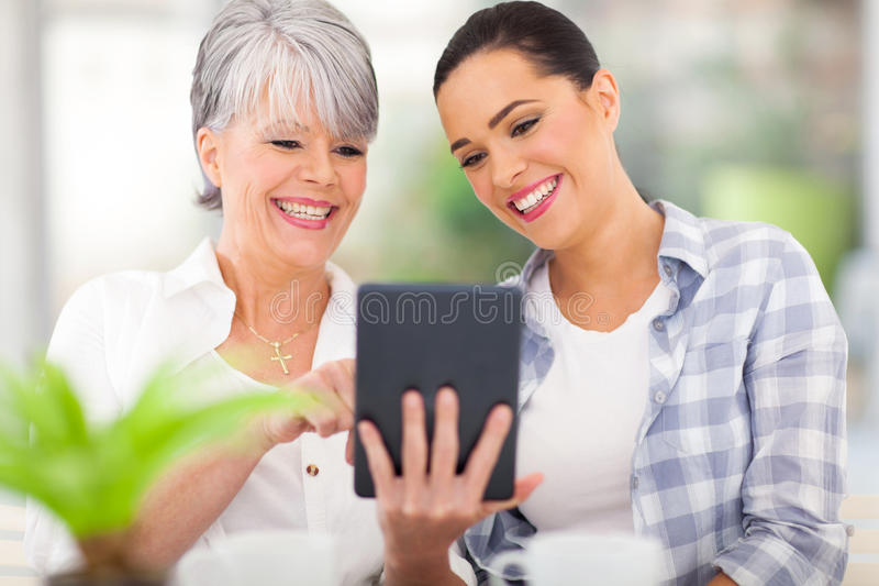 Mother Tablet Daughter Stock Photography