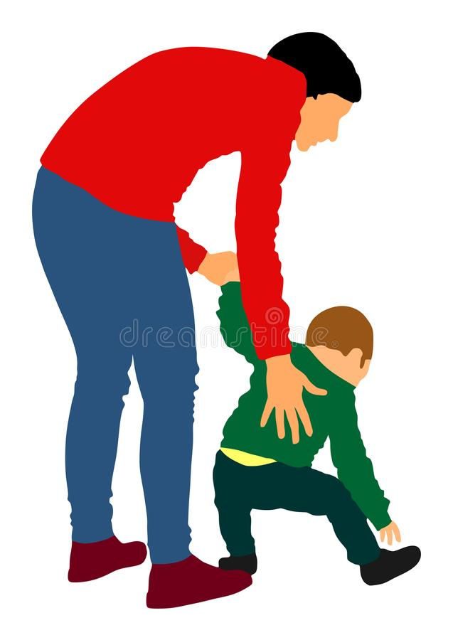 Mother teaching baby to walk vector. Babysitter care about cute baby. Young woman and son. stock illustration
