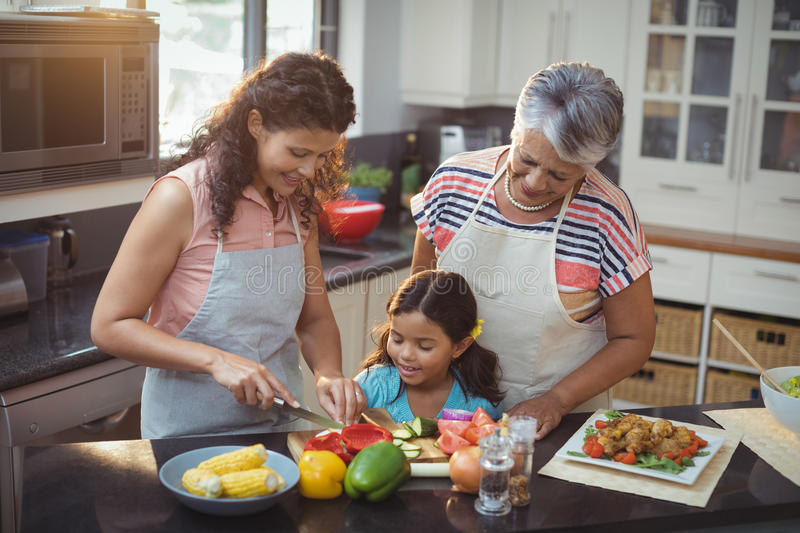 Mother teaching daughter to chop vegetables in kitchen stock images