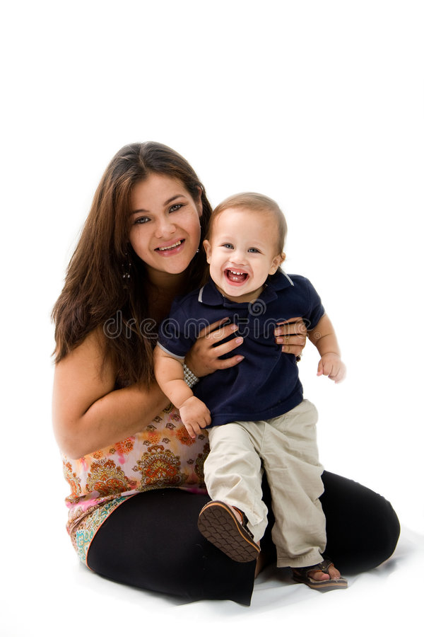 Mother teaching Son stock image