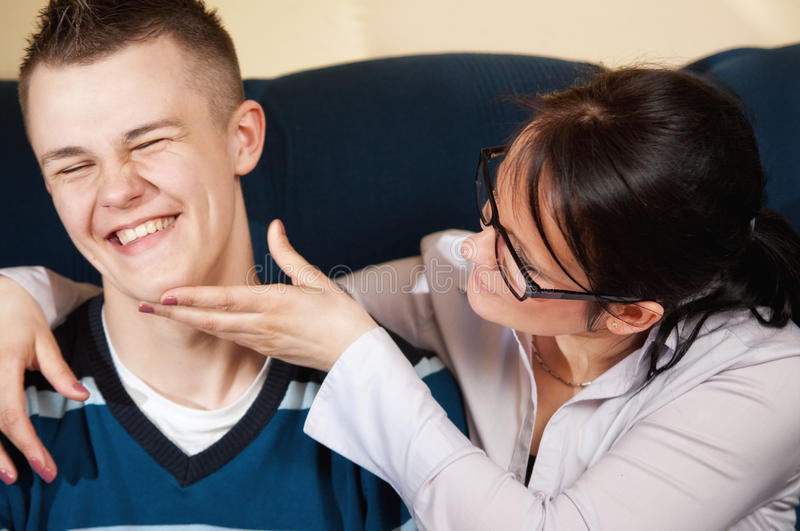 Download Mother with teenage son stock photo. Image of laugh, eyeglasses - 25406234