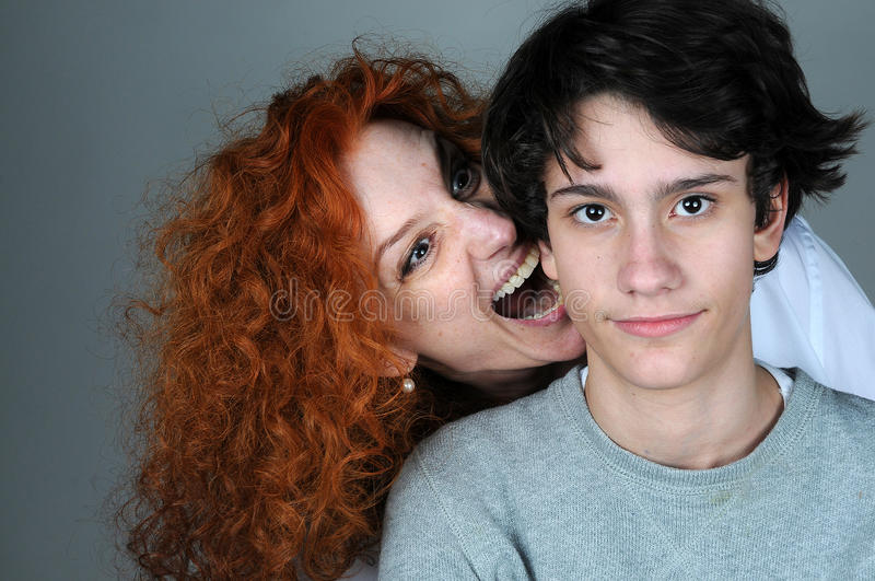 Mother and teenager son stock photo