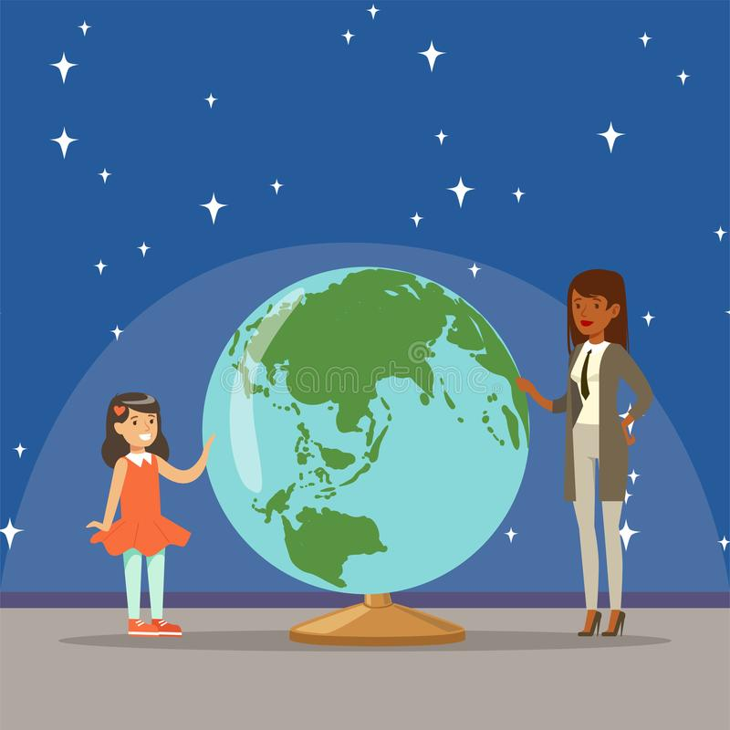 Mother telling her daughter about earth planet at the planetarium. Horizontal vector Illustration stock illustration