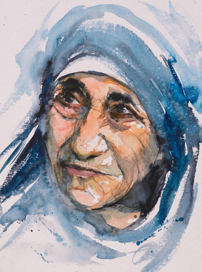 Mother Teresa portrait stock illustration
