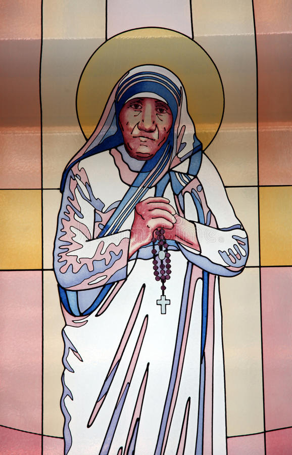 Mother Teresa, stained glass. Stained glass window with the image of Mother Teresa in the Memorial House in Skopje, Macedonia on May 17, 2013 royalty free stock images