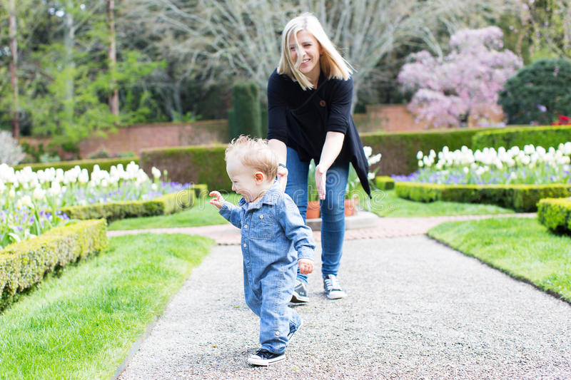 Mother and toddler in the park royalty free stock images
