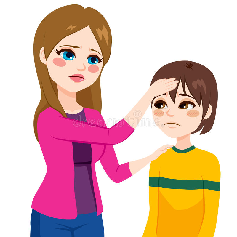 Mother Touching Son Head. Young mother worried mother checking temperature touching his son head with hand stock illustration