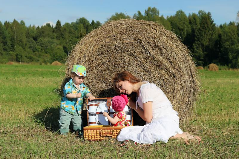 Mother with twins in field royalty free stock photography
