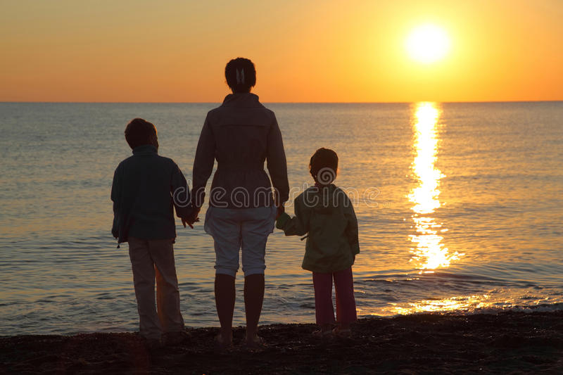 Download Mother With Two Children On  Beach Stock Photo - Image: 17215736