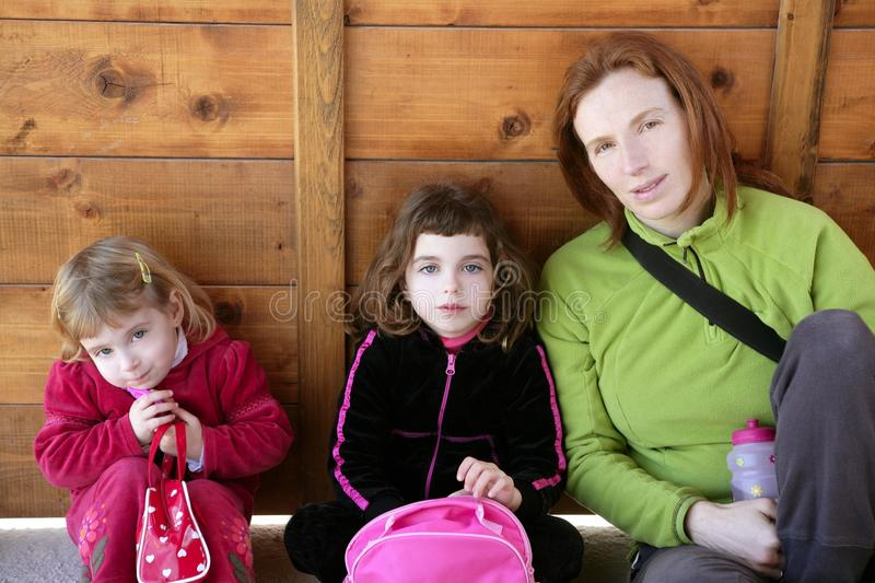 Download Mother And Two Daughter Sister Sit Stock Image - Image: 12694153