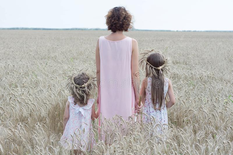 Mother with two daughter stay in wheat field back view. Enjoying the nature royalty free stock photography