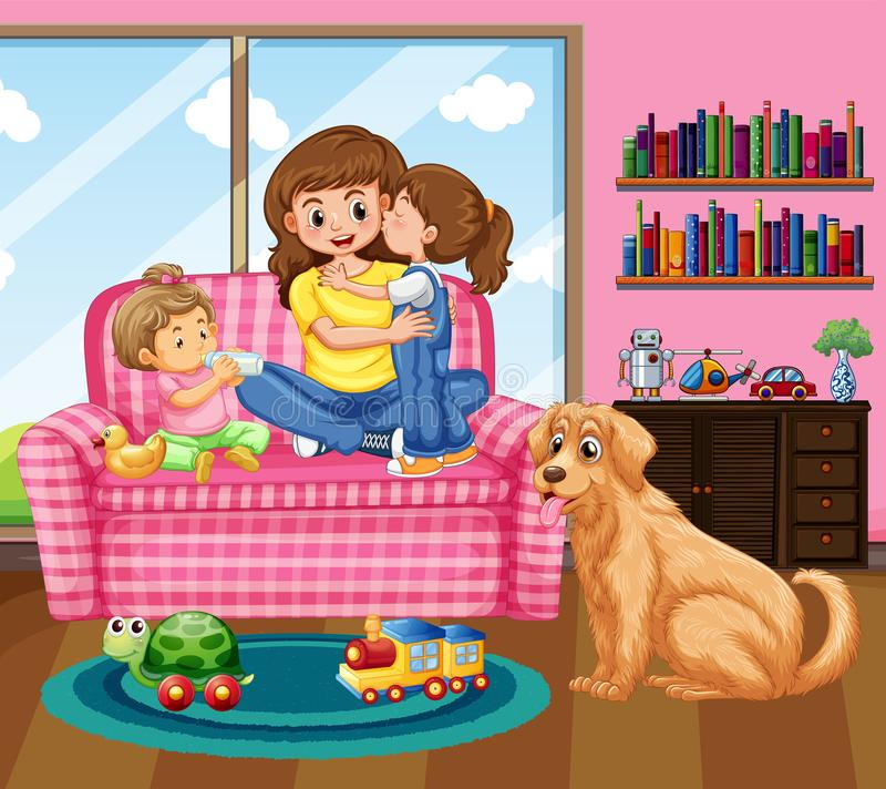 Mother And Two Kids With Pet Dog In Livingroom Stock Vector ...