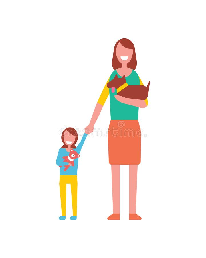 Mother Walk with Toddler Girl Playing Teddy Bear. Mother walk with toddler girl playing with soft teddy bear, holding cute dog in hands. Motherhood concept vector illustration