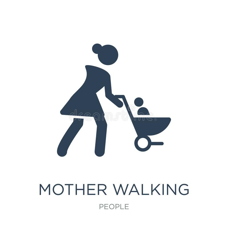 mother walking with baby stroller icon in trendy design style. mother walking with baby stroller icon isolated on white background royalty free illustration