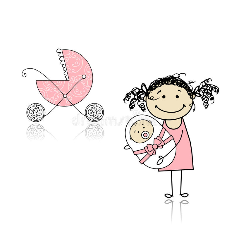 Download Mother Walking With Buggy, Newborn Baby Stock Vector - Image: 18011208