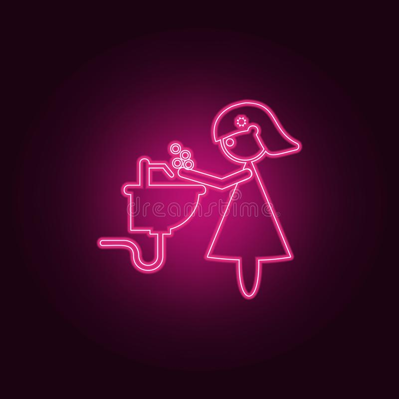 Mother washes her hands icon. Elements of Family in neon style icons. Simple icon for websites, web design, mobile app, info. Graphics on dark gradient vector illustration