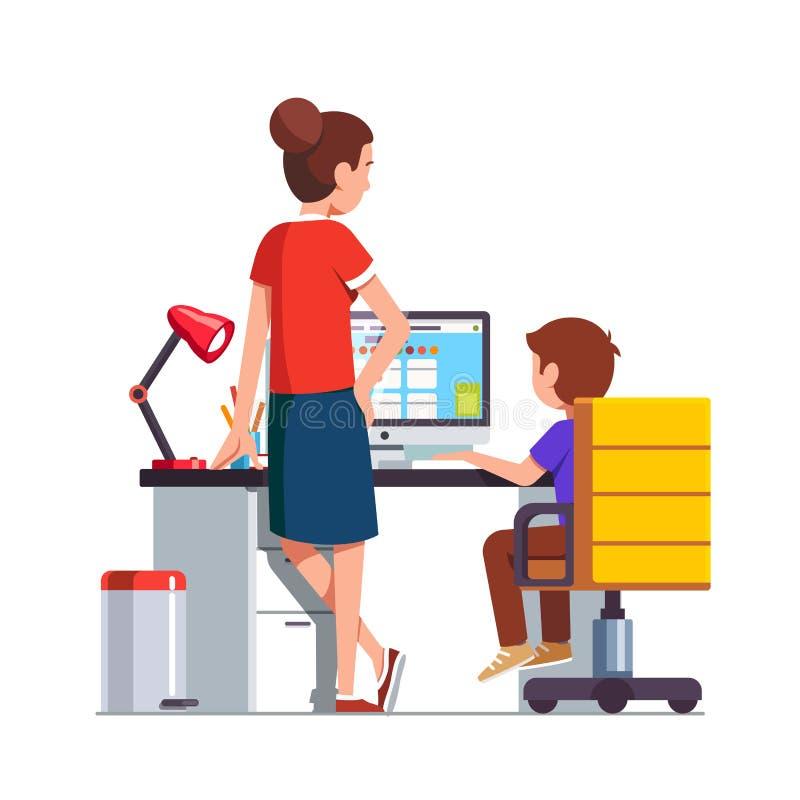 Mom watching over shoulder son kid doing homework. Mother watching over shoulder son kid doing homework on desktop computer sitting at office desk. Mother royalty free illustration