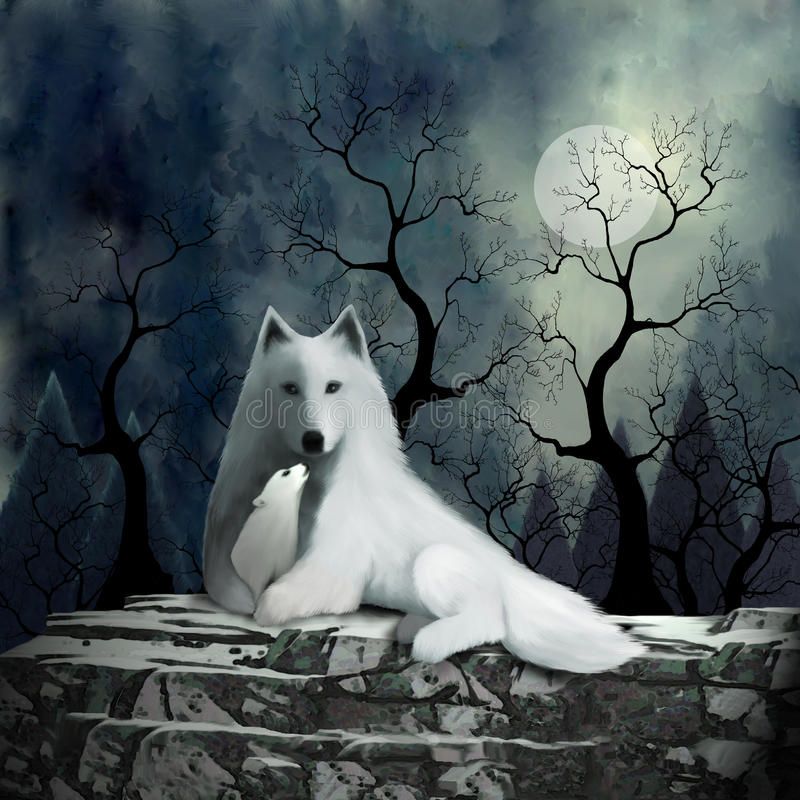 Mother Wolf and Baby royalty free illustration