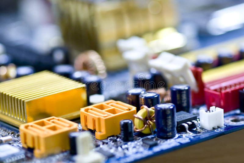 Motherboard. Circuits from a computer motherboard stock photo