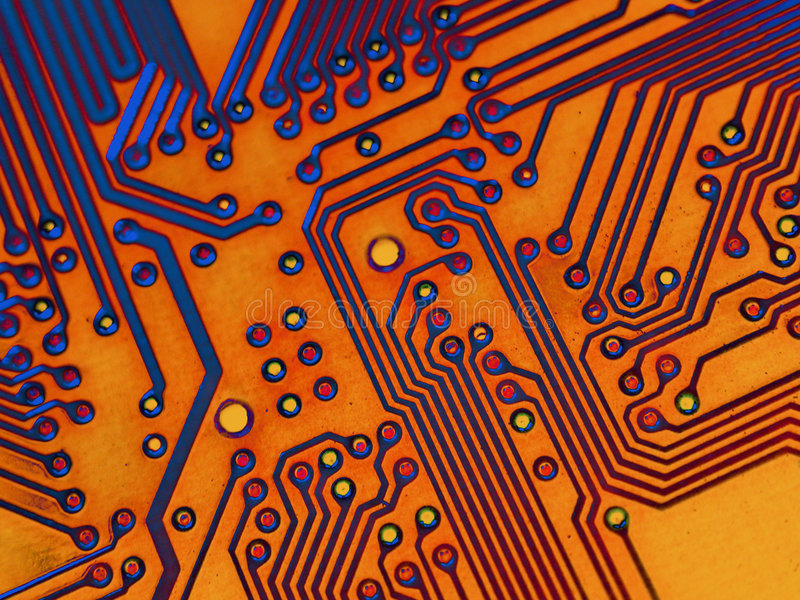 Motherboard Background Texture. Abstract perspective on computer parts. A motherboard digitally enhanced with color effects makes a great texture or background vector illustration