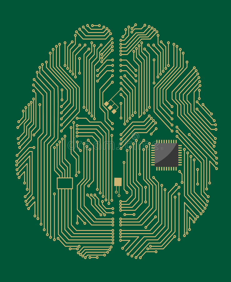 Motherboard brain with computer. Motherboard brain on green background for technology concept stock illustration