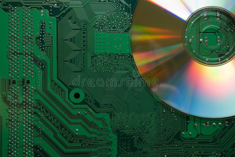 Motherboard with CD stock photography