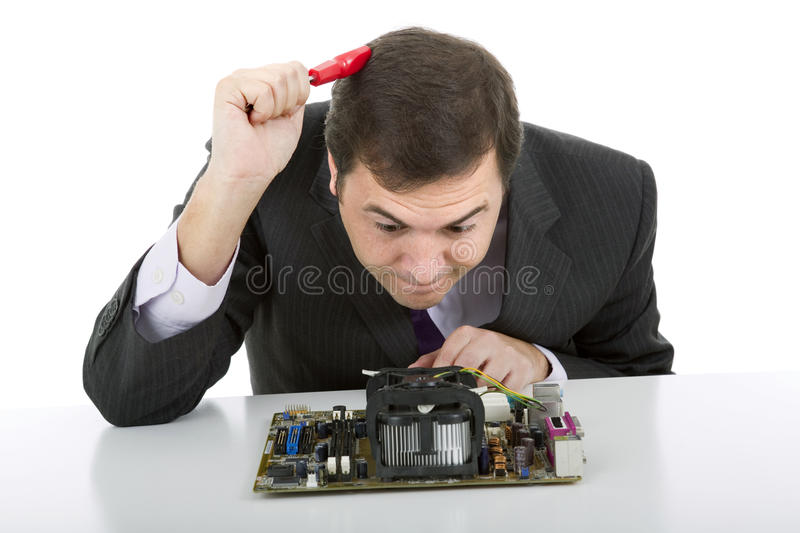 Motherboard. Computer Engineer working in a motherboard stock images