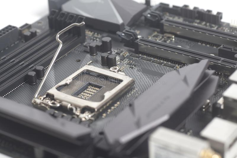Motherboard-Computer PC mit CPU-Sockel 1151 Intels LGA lizenzfreie stockbilder