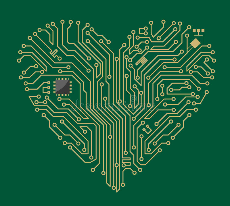 Motherboard heart. Motherboard computer heart for love concept design vector illustration