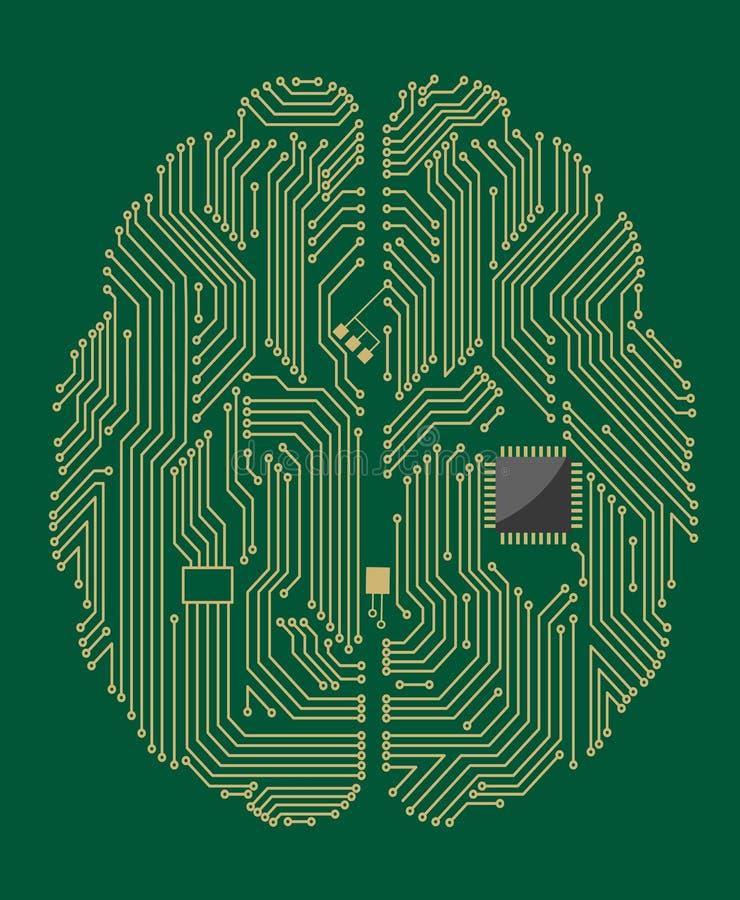 Motherboard hersenen met computer stock illustratie