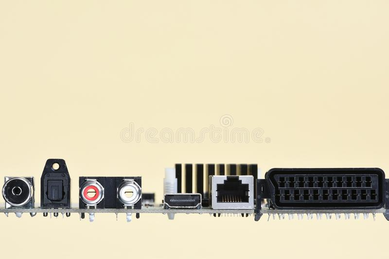 Motherboard module with slot, port and socket,. Copy space for text royalty free stock photography