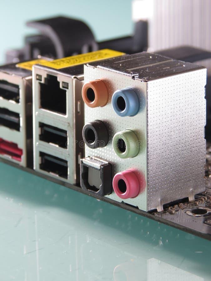 Motherboard rand 5.1 audioschakelaars en digi royalty-vrije stock foto